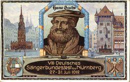 30623 Bayern,stationery Card 5pf. Deutsches Sangerbundesfest Nurnberg 1912,showing Hans Sachs - Musique