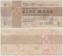 DDR 1979, 1 Mark, Forumscheck, Ersatznote ZA, Aussenhandelsgesellschaft, Geldschein, Banknote - [14] Forum-Aussenhandelsgesellschaft MBH
