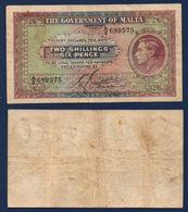 Malta 2 Shillings 6 Pence 1940 Sn575 F-VF - Malta