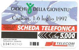 ITALIA SCHEDA TELEFONICA TELECOM  SERIE GIOCHI DELLA GIOVENTU' CAGLIARI 1-6 LUGLIO 1997 N. 114143349 - Sport