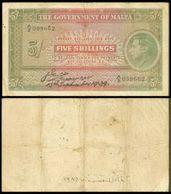 Malta 5 Shillings 1939 F-VF - Malta