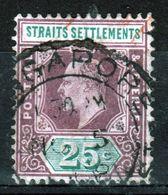 Straits Settlements 1904 King Edward VII Twenty Five Cent Purple/Green Used Stamp. - Straits Settlements