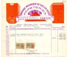 Factuur Facture - Papeteries Papiers Cartons - Semoulin à Thulin - 1953 - Imprimerie & Papeterie