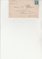 LETTRE AFFRANCHIE N° 22 AVEC VARIETE DECALAGE DENTELURE SUR LE BAS  CAD MONPELIER 1866 - Postmark Collection (Covers)