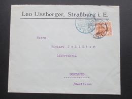 DR 1917 Germania Nr. 100 EF Zensurstempel Straßburg Els. Firmenbrief Leo Lissberger, Straßburg I. Elsass - Covers & Documents
