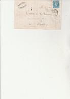 LETTRE AFFRANCHIE N° 14 AVEC VARIETE FILET  DU BAS ABSENT - CAD  BEDARIEUX 1858 - Postmark Collection (Covers)