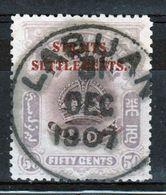 Straits Settlements 1906 Labuan Fifty Cent Stamp Overprinted With Straits Settlements In Red - Straits Settlements