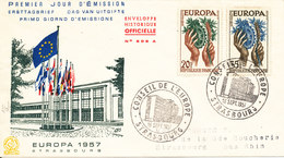 France FDC 16-9-1957 EUROPA CEPT Complete On Cover With Cachet - Europa-CEPT