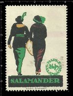 German Poster Stamp, Reklamemarke, Cinderella, Salamander Marke, Brand, Shoes, Schuhe. - Tessili