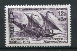 6008     ALGERIE   N° 342**  12f + 3f Violet : Journée Du Timbre. Felouque   1957   TTB - Neufs