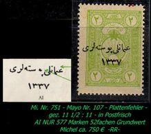 TURKEY , EARLY OTTOMAN SPECIALIZED FOR SPECIALIST, SEE...Mi. Nr. 751 - Mayo 107 A - Gez. 11 1/2 : 11 - 1920-21 Anatolia