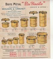 """Boite Métal""""La Facile"""".Ets Mougin Crahet à Brive-Verrines Et Terrines""""La Conserve"""". - France"""