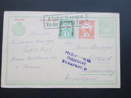 Ungarn 1915 Ganzsache Mit 2 Zusatzfrankaturen A Hadrakelt Seregtöl. Von Der Armee Im Felde. Abs. Leutnant - Hungary