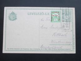 Ungarn 1915 Ganzsache Mit Einer Zusatzfrankaturen A Hadrakelt Seregtöl. Von Der Armee Im Felde. Abs. Leutnant - Lettres & Documents