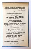 Doodsprentje / Image Mortuaire - Kind / Enfant - Leo TOELEN (Lodts) °Olmen, Stotert, 1954 - +1954 - Religión & Esoterismo