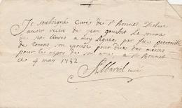 1732 Saint Bonnet Briance Curé  Reçu De 6 Livres Pour Dire Des Messes Pour Repos D' Une âme Eglise Messe Religion - Manuscripts