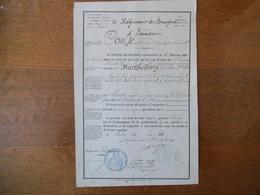 22e REGIMENT DE DRAGONS 4e ESCADRON LE GENERAL DE DIVISION CONGE JUIN 1875 BARTHELEMY PAUL POUR ALLER A SOULANGES CHER - Documents