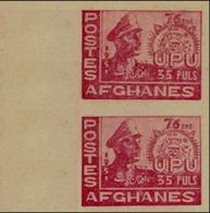 AFGHANISTAN 1951 UNIVERSAL POSTAL UNION 35p Magenta MARG.IMPERF.PAIR UPU [non Dentelé, Geschnitten] - Afghanistan