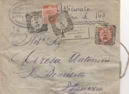 ASSICURATA 1910 TIMBRO TREVISO  CENT 20+20 CERA LACCA - (SEGNI DEL TEMPO) (RX11 - 1900-44 Vittorio Emanuele III