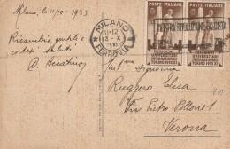 CARTOLINA POSTALE 2x10 CENT. GIOCHI UNIVERSATORI UNIVERSITARI-MOSTRA RIVOLUZIONE FASCISTA-RETRO NON PERFETTO 1933 (RX52 - Marcophilia