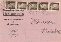 AVVISO DI RICEVIMENTO CON 5x0,10 CENT. IN STRISCIA 1942 (RX53 - Storia Postale