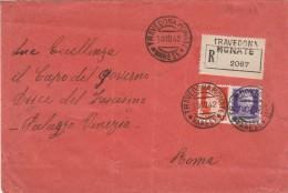 RACCOMANDATA 1942 L.1,75+0,50 TIMBRO TRAVEDONA MONATE (RX110 - 1900-44 Vittorio Emanuele III