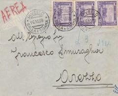LETTERA 1938 SOMALIA 3X0,50 SERIE PITTORICA-TIMRO IAVELLO GIALLA E SIDAMA AREZZO MITTENTE GOVERNO GALLA E SIDAMA (RX112 - Somalia