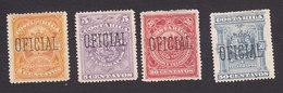 Costa Rica, Scott #O32-O33, O35-O36, Mint No Gum, Arms Overprinted, Issued 1892 - Costa Rica