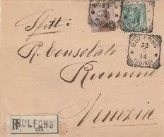 RACCOMANDATA 1914 5+40 CENT - TIMBRO UDINE-ASSEGNO TIMBRO VENEZIA SANTO STEFANO (RX273 - 1900-44 Vittorio Emanuele III
