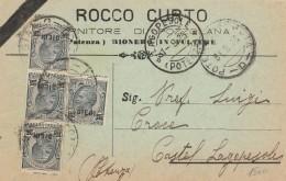 CARTOLINA 1925 CON 4 X10 CENT SOVRASTAMPATI + TIMBRO AGOPESOLE-POTENZA (RX299 - 1900-44 Victor Emmanuel III