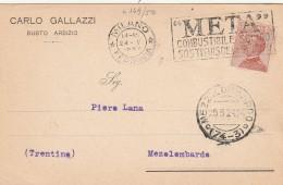 CARTOLINA 1924 CENT.30 TIMBRO META' COMBUSTIBILE SOLIDO (RX377 - 1900-44 Vittorio Emanuele III