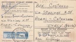 RICEVUTA PACCO 1976 STATI UNITI CON PACCHI POSTALE LIRE 1002 (RX611 - Colis-postaux