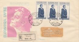 FDC ELEONORE DUSE -VIAGGIATO COME RACCOMANDATA CON 3 FRANCOBOLLI-VENETIA 1958 (RX628 - F.D.C.