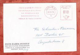 Briefvorderseite, Absenderfreistempel, Fritz-Haber-Institut, 10 Pfg, Berlin 1970 (46682) - [5] Berlin