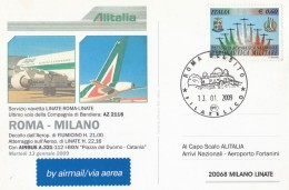 CARTOLINA ULTIMO VOLO ROMA MILANO 13/1/2009 (RX657 - 2001-10: Marcophilie