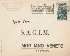 LETTERA 1954 CON 25 L. CORTINA-TIMKBRO CARNEVALE VIAREGGIO (RX666 - 6. 1946-.. Repubblica
