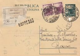 INTERO 1950 15 L. +2X20 VIAGGIATO ESPRESSO-UFFICIO RECAPITO-TIMBRO PORDENONE UDINE (RX730 - 6. 1946-.. Repubblica
