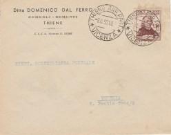 LETTERA 1950 CON L.20 MURATORI TIMBRO THIENE VICENZA (RX767 - 6. 1946-.. Repubblica