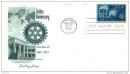 1955  Rotary International - 50th Anniversary - Sc 1066 Single - Unaddressed FDC - Sobre Primer Día (FDC)