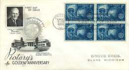 1955  Rotary International - 50th Anniversary - Sc 1066 Block Of 4 -  FDC - 1951-1960