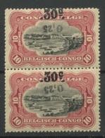 105A ** 25c Renversé Et Encore Grise   Cote 80,- Euros La Paire Verticale Luxe - Congo Belge