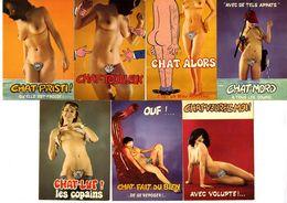 NUES HUMORISTIQUES  THEME LE CHAT  LOT 7 CARTES MODERNES  -  Editions Lyna  Paris - Nudi Adulti (< 1960)
