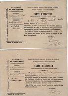 VP11.855 - 1880 - Commune De VEYRE - MONTON - Carte D'Electeur X 2 - Cartes