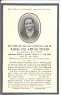 Madame Paul Van Der Eecken. Née Antoinette Marie Viot. Décédée à Argentan. 1933. - Décès