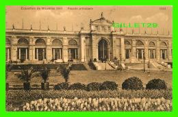 EXPOSITIONS  DE BRUXELLES 1920 - FAÇADE PRINCIPALE -  CIRCULÉE EN 1910 - SUPERBE CACHET - VALENTINE & SONS - - Expositions