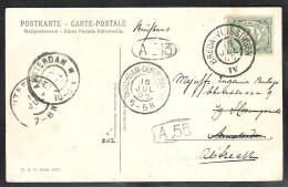 NEDERLAND 1905 Ansichtkaart Grootrond Treinstempel BREDA-VLISSINGEN IV - Poststempels/ Marcofilie