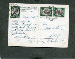 Deutsches Reich Seepost Postkarte 1935 M.s. Bremen - Germania