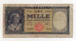 """Italia - Banconota Da Lire 1.000  Italia Ornata Di Perle/Medusa - """" R """" - Decreto 11 Febbraio 1949 - (FDC8281) - [ 2] 1946-… : République"""