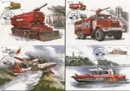 Uk Ukraine 2017 Mi. Nr. 1658-1661 Max Fire Fighting Vehicles - Ucrania