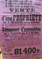 AFFICHE VENTE AUX ENCHÈRES D'UNE PROPRIÉTÉ A VOIRON ET CHABONS 1943 - Affiches